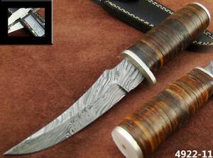 CUSTOM HANDMADE DAMASCUS STEEL HUNTING BOWIE KNIFE (4922-11