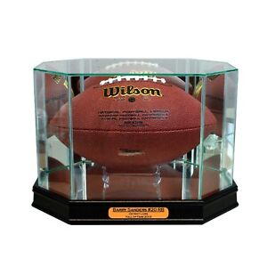 New Barry Sanders Detroit Lions Glass and Mirror Football Display Case UV