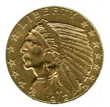 1912 $5 GOLD INDIAN HEAD HALF EAGLE U.S. COIN BU