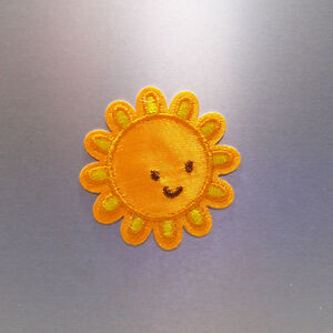 Happy Sun Patch — Iron On Badge Embroidered Motif —Yellow Cute Fun Applique