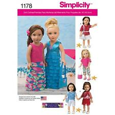 SIMPLICITY SEWING PATTERN 18 INCH DOLL CLOTHES SKIRT SHORTS SCARF  1178