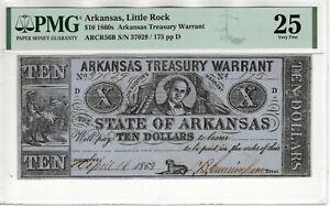 1860 $10 ARKANSAS TREASURY WARRANT LITTLE ROCK OBSOLETE NOTE PMG VERY FINE 25