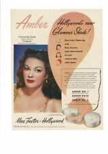 VINTAGE 1948 MAX FACTOR HOLLYWOOD AMBER YVONNE DE CARLO CASBAH BEAUTY AD PRINT