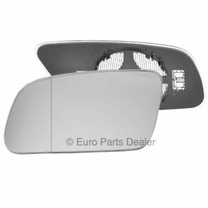 Left passenger side mirror glass with clip for Audi A6 99-04 Heated Aspherical