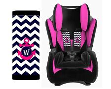 MONOGRAMMED BABY CAR SEAT STRAP COVERS NAVY CHEVRON ANCHOR