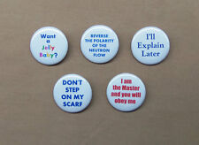 """Classic Doctor Who 5 Button Quote Set 1.25"""" 3rd 4th Dr. Scarf Jelly Baby Master"""