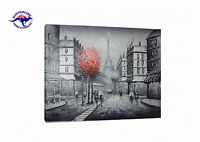 FRAMED STREETSCAPE OIL PAINTING ON CANVAS HAND PAINTED PARIS EIFFEL TOWER STREET