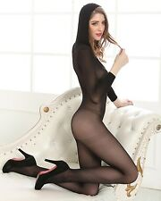 Wild Sexy Black Sheer Opaque Open Crotch Body Stockings with Hoodie Bodysuit