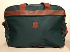POLO Ralph Lauren Duffle Laptop Bag Overnight Travel Weekender Green Canvas!