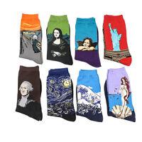 World Famous Painting Fine Art Socks Mona Lisa Starry Night Stocking Cotton Sock
