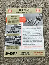 1968  Roseman rubber tire mowers,  sales sheet.