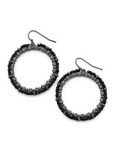 Cookie Lee Crystal Midnight Glam Hoops/Earrings 27255 $29 *New with Tag/NWT*