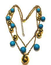 KJL KENNETH JAY LANE Faux Turquoise Gold Beaded Necklace 2 Strands NEW