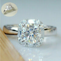 Wholesale 925 Silver White Moissanite Engagement Wedding Queen Gift Sz 6-10 Ring