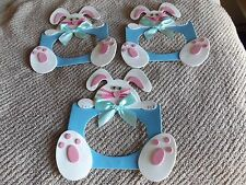 Lot of 3 Handmade Blue Magnetic Foam Easter Bunny Picture Frame Free Shipping