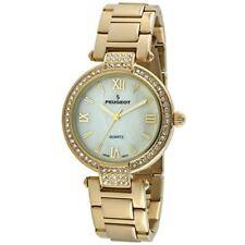 Peugeot Women's T-Bar Metal Link Bracelet Crystal Bezel Watch