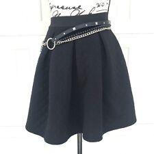 Exhilaration Black High Waist Flare Skater Mini Skirt Goth Club Grunge XS