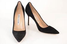 Manolo Blahnik black 7 37 suede slip on point toe classic pump shoe NEW $625