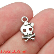 10pcs 16x9mm Halloween skull Charms Antique Silver Tone Pendant Bead Making DIY