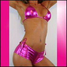 Bikini sexy hotpants set en rosa brillante WETLOOK tina caliente parte ningún pintura 32-36
