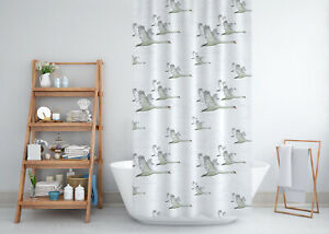 Extra Long Fabric Shower Curtain With Flying Swans, 180cm  wide by 200cm drop