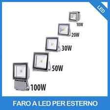 FARO FARETTO A LED 10W 20W 30W 50W 80W 100W LUCE CALDA 220V PER ESTERNO IP 65