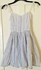 Kate Moss Topshop Nautical Limited Edition Blue Striped Summer Dress UK 8