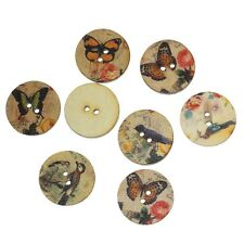 NEW BULK 100 Mixed Vintage, Shabby Chic Bird & Butterfly Buttons 20mm,  FREE P&P