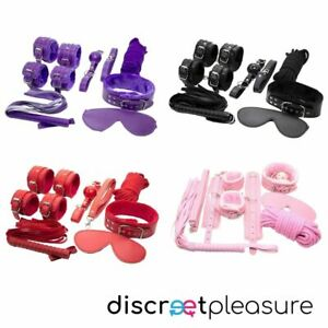 7 pcs Adult Sexy BDSM Bondage Set Kit Hand Cuffs Foot cuff Whip Rope Sex SM Toys
