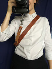 Camera Shoulder Strap Real Brown Leather Camera Shoulder Sling DSLR Harness