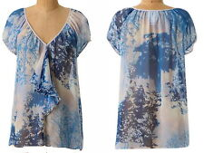 $148 Anthropologie Silk Skyscape Top Small Blue Ruffled Crinkled Chiffon Breezy