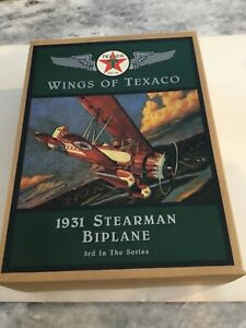 WINGS OF TEXACO 1931 STEARMAN BIPLANE DIECAST AIRPLANE BANK 1995 3rd