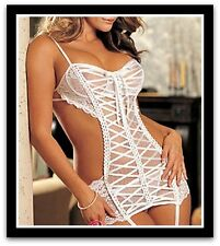 NEW Women's Sexy Lingerie With G string+ Garter+ Stocking Nightwear Erotic Hot