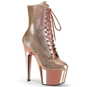 """Pleaser 7"""" rose textured lace up ankle boots"""