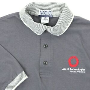 "Lucent Technologies Men Medium 38"" Bell Labs Innovations Polo Gray Cotton"