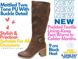 Ladies Brown Grain Faux Leather Block Heel Buckle Knee Length Riding Boots