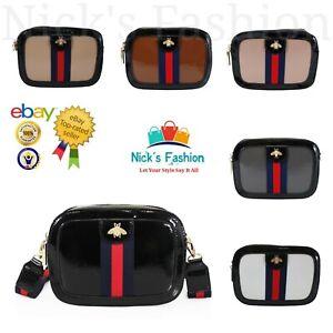 Brand New Women's Stylish Dual Zip Shinny Messenger Bag With Beetle Badge Detail