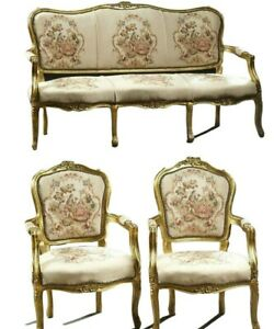 Parlor Set, Settee, Chairs,Two Louis XV Style Three-Piece Gilt Parlor Suite!