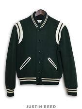 Saint Laurent 2016 Rare Forest Green Teddy Varsity Baseball Jacket Sz 48