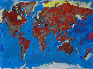 Philippe LE MIERE Map World original signed painting art