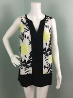 NWT Womens Vince Camuto Blk/Yellow Floral Sleeveless Blouse Top Sz M Medium