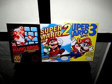 "Nintendo Nes MARIO BROS 1 2 & 3   Box Cover Photo Poster LOT 8.5""x11"" Game Room"