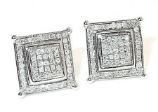 18CT HALLMARKED WHITE GOLD 0.25 CTS G SI1 DIAMOND SQUARE STUD EARRINGS