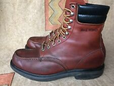 Vintage Red Wing USA Oxblood Leather Lace Up Work Chore Moc Toe Boots 10 D