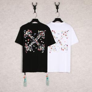 New Off White Cotton Loose T-shirt Men Women Floral Arrow Print Short Sleeve Tee