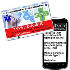 Type 2 Diabetic Medical Emergency ID Card ICE FREE Silver Medic Alert Service