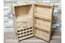 Creative Crate Style Wine Cabinet With Drawers Storage Space - Mini Bar