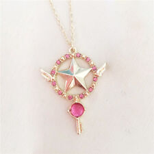Anime Card Captor Sakura The Clow Magic Star Wand Metal Crystal Pendant Necklace