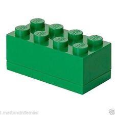 LEGO CONTENITORE VERDE GREEN 2X4 LUNCH MINI BOX BATTESIMO COMUNIONE CONFETTI