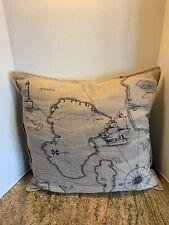 Ikea World Map Nautical Benzy Land 20� x 20� Pillowcase Pillow Sham *Burlap Look